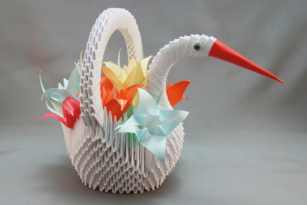Cesta De Garça Com Flores Em Origami 3d Mimo Artesanato Flickr