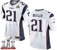 Nike Patriots #21 Malcolm Butler White Super Bowl LI 51 Men's Stitched NFL New Elite Jersey