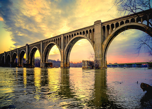 bridge sunset night river james golden virginia cloudy rail arches mcdonalds richmondva rva