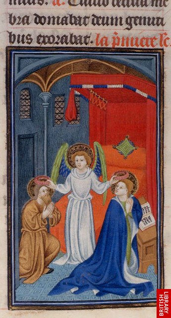 An angel crowns Saints Valerian and Cecilia