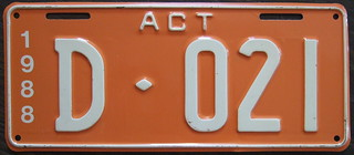 AUSTRALIA, AUSTRALIA CAPITAL TERRITORY 1988 DEALER plate