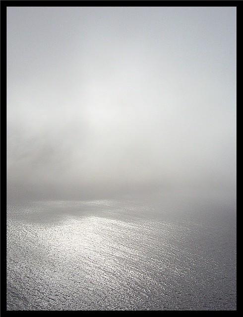 Silver glitter sea under clouds,Faroe islands