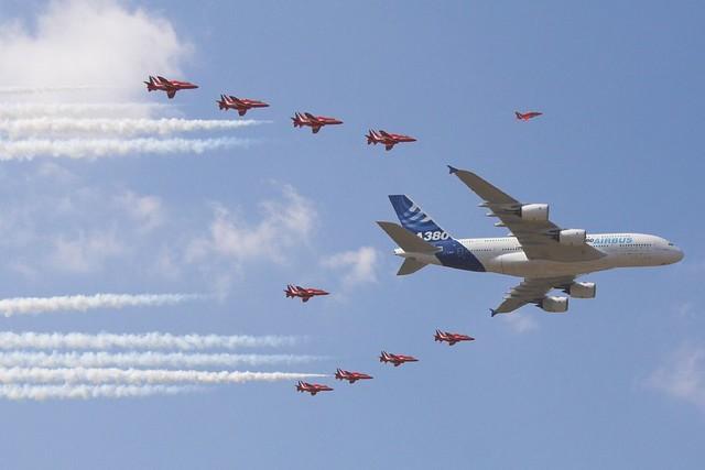 F-WWOW Airbus A380 with Red Arrows Farnborough 2006