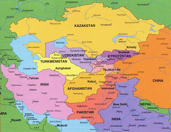 Asia and Middle East and Eastern Europe Map | In the map, As ...