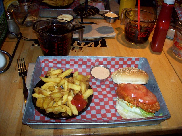 A Rockcliffe Grinder spicy chicken burger and fries at