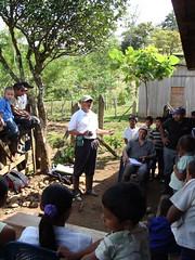 Esteban Cantillano talking to community meeting at Monte de Cristo
