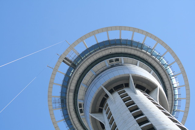 View of the top of Sky Tower from the ground.