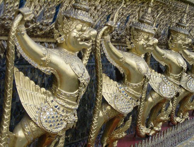 Wat Phra Kaeo: Garuda and Nagas, at the outside of the ubosoth