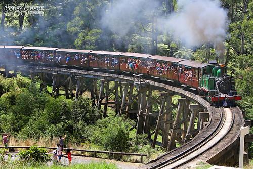 Puffing Billy Railway - 6A crossing Monbulk Trestle Bridge. | by Australian Trains