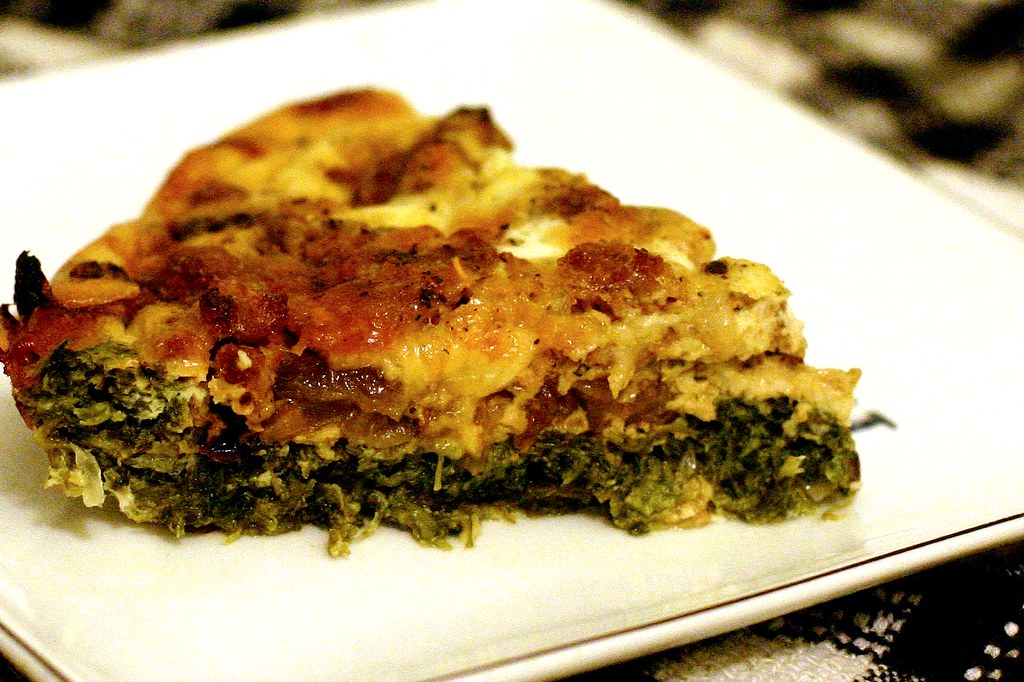 Carmelized Onion, Spinach and Sausage Frittata