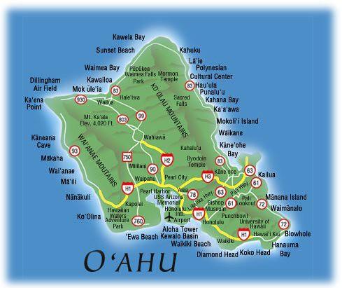 Oahu, Hawaii   Map of Oahu from: www.hawaiicity.com/hawaiima ... on tahiti map, waikiki map, pearl harbor map, montana map, niihau map, hawaii map, south carolina map, colorado map, molokai map, honolulu map, haleiwa map, hanauma bay map, maui map, hilo map, kauai map, big island map, kahoolawe map, california map, kaneohe bay map, lanai map,