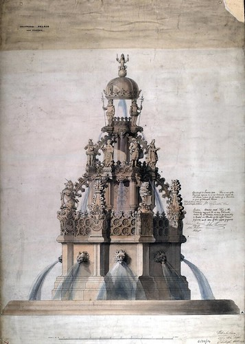 Architectural drawing of new fountain for Holyrood Palace | by peacay