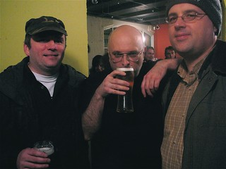 Stevie, Craig Tannock and Jey, at the opening night of Craig's new Stereo