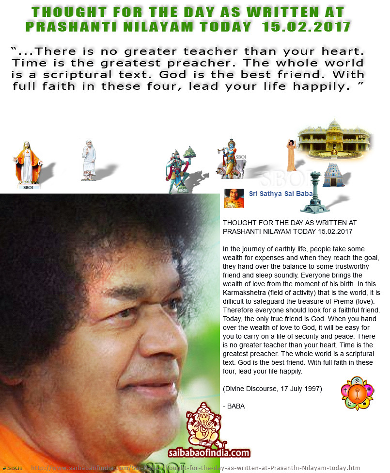 Whatsapp 15th Feb 2017 Thought For The Day Sathya Sai Bab