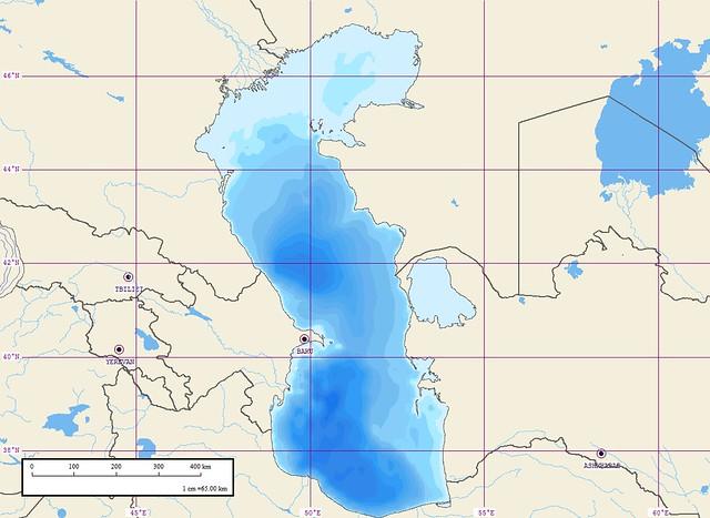 Caspian Sea - Marplot Map with Isobats (1-65 km) | Mr Minton ...