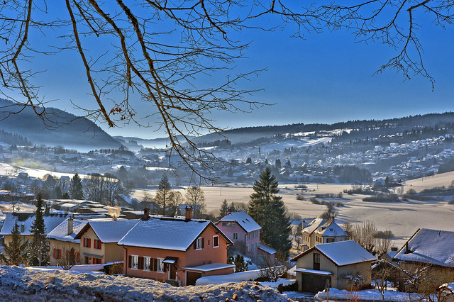 Winter landscape , Vue hivernale sur la France depuis Les Brenets (Switzerland, France)  . No. 6854.