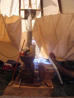 woodstove in messy tipi jpg | Here's the wood stove mostly i