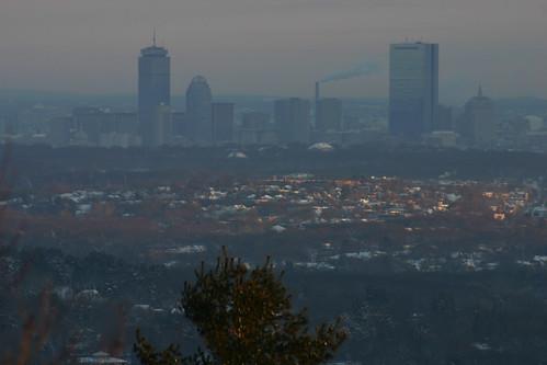 boston skyline skyscraper sunrise massachusetts milton hancock bluehills prudential backbay pru roxbury