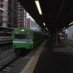 103系(黄緑) 試運転@放出