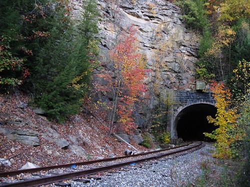 railroad abandoned train landscape tracks tunnel portal