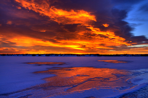 blue orange sunlight lake snow ice clouds sunrise landscape colorado denver chatfield littleton supershot 200712