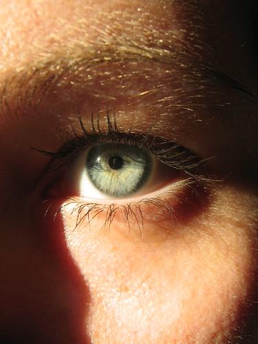 through the eyes.