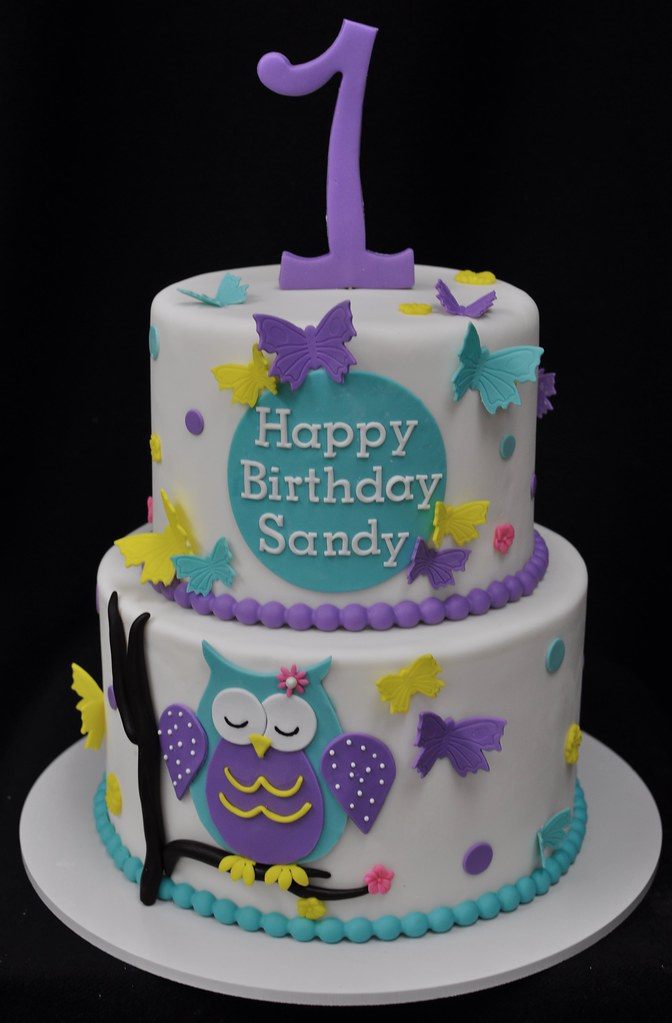 Enjoyable Owl And Butterfly Themed Birthday Cake Jenny Wenny Flickr Funny Birthday Cards Online Overcheapnameinfo