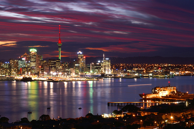 Auckland City Sunset New Zealand It Was A Beautiful Sunse Flickr