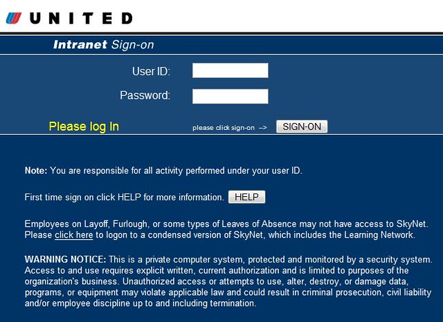 skynet united airlines intranet