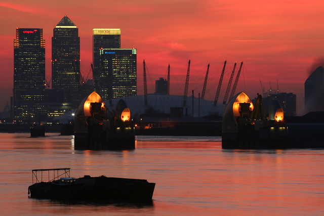 View of the Thames Barrier, the Dome and Canary Wharf