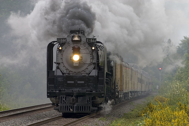 UP 844 and steam at Dodson