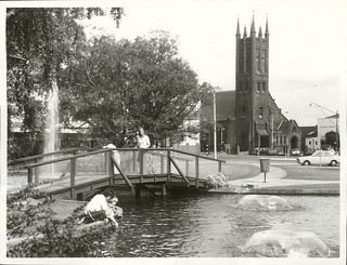 Palmerston North Square with the All Saints Church in the background