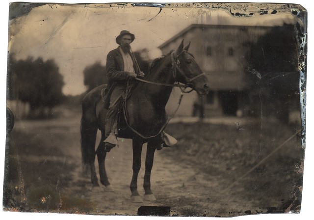 Scruffy man with horse - half plat tintype