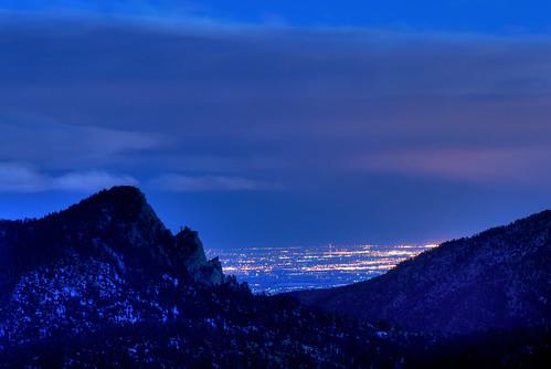city longexposure blue night dark landscape lights nikon colorado nightscape nocturnal co bluehour drake nocturne afterdark larimer d300 catchycolorsblue stormkingmountain clff mywinners