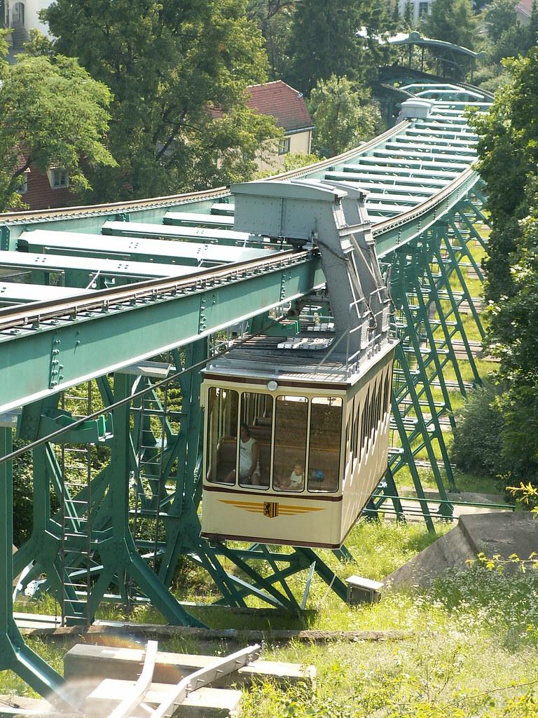 Die durchgehend zweigleisig ausgeführte Dresdner Schwebebahn ist wie die kurz vorher eröffnete Wuppertaler Schwebebahn nach dem System von Eugen Langen konstruiert und hat 33 bis zu 14 Meter hohe Stützen. Die Laufwerke der beiden pendelnd gelagerten Kabinen rollen auf einem speziellen Stahlträger, der nach seinem Erfinder auch Rieppelträger genannt wird  083
