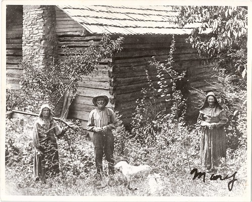 "Mary Ann ""Sis"" Foust , Christopher Joshua ""Coon"" Foust, Pen (dog), and Aunt Mary Elizabeth Foust in Foust Hollow, Anderson Co., Tennessee 