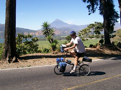 Scot riding around Lake Amatitlan with his Bike Friday Pocket Llama