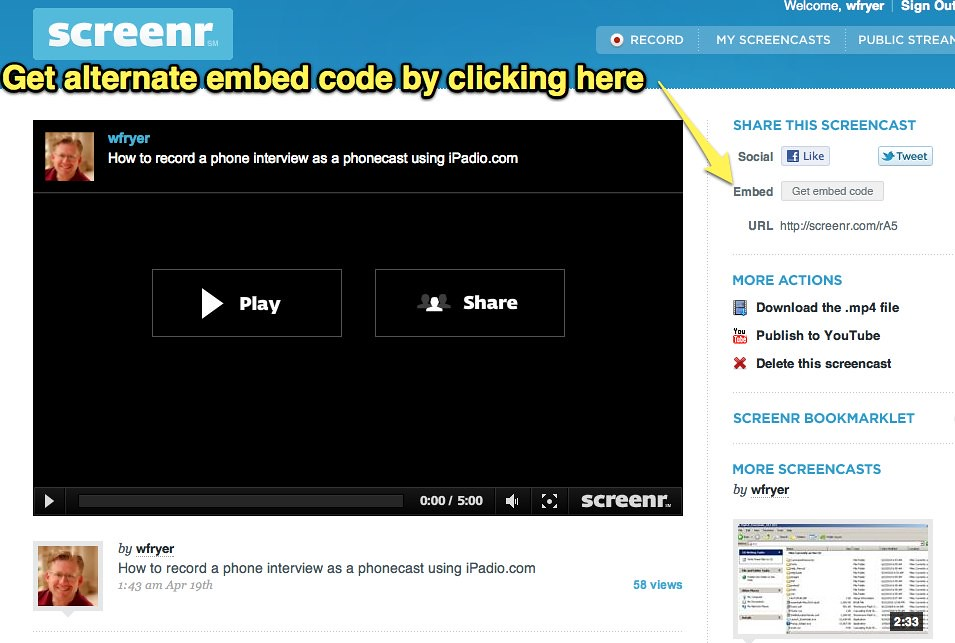 Embed Screenr without iframe code | See this post for detail