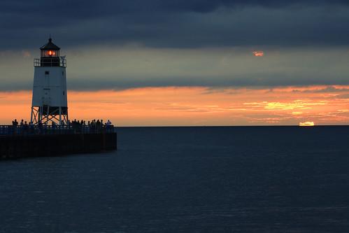 sunset lighthouse clouds michigan lakemichigan charlevoix supershot