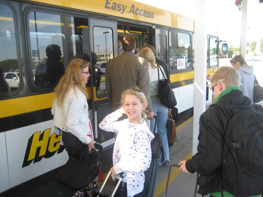 Boarding the Hertz shuttle bus to the terminal at LAX | Flickr