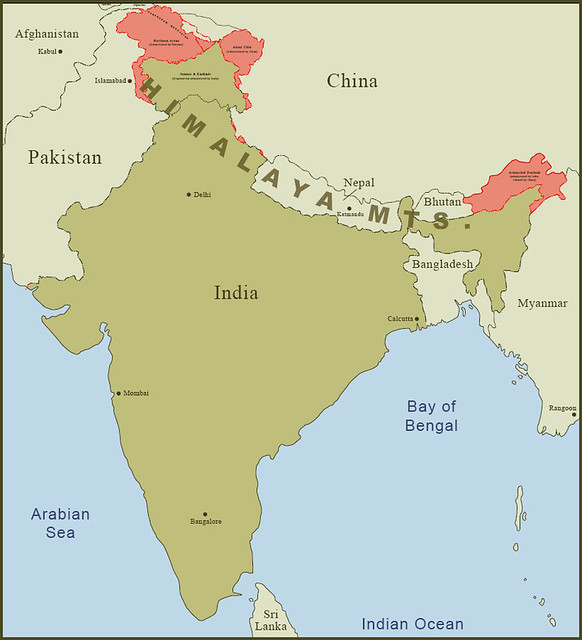 India Borders | This is the overview map of India and its bo ... on india china boundary map, spain border map, india border changes, russia border map, australia border map, france border map, pakistan border map, western chinese border map,