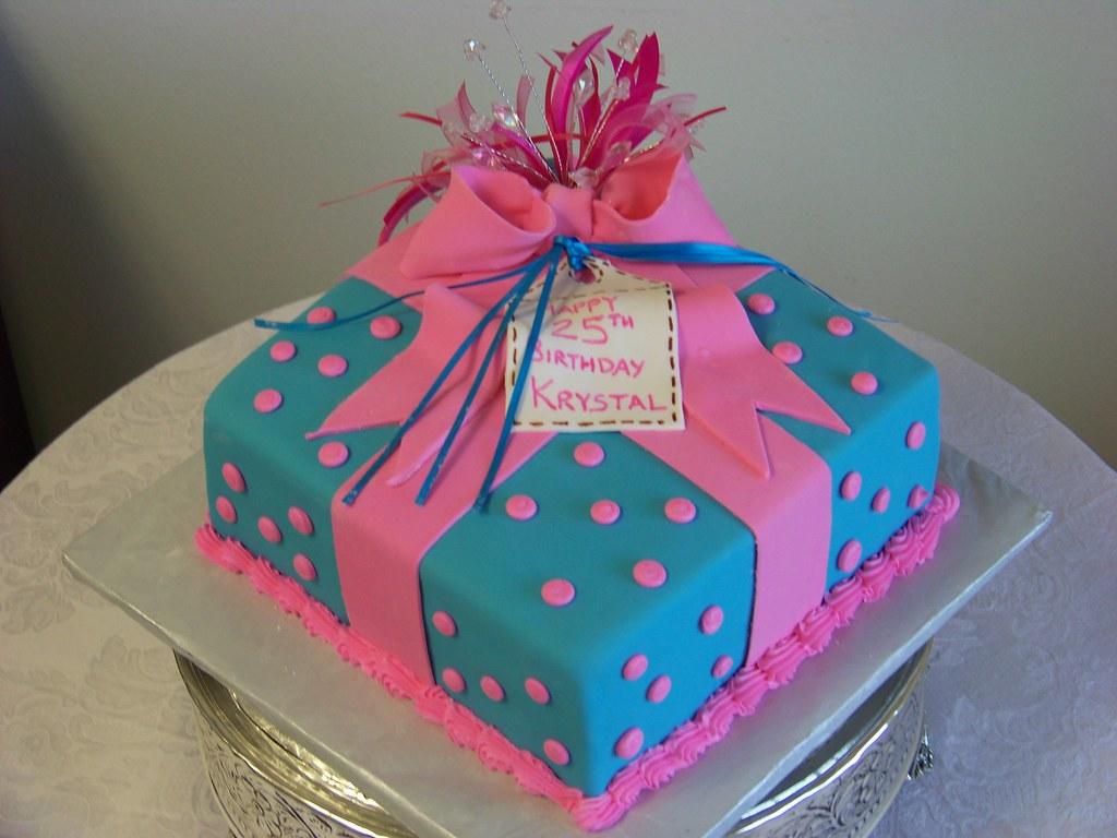 Pleasant Pink Polka Dot And Blue Present Birthday Cake Tc27Jkw Flickr Funny Birthday Cards Online Chimdamsfinfo