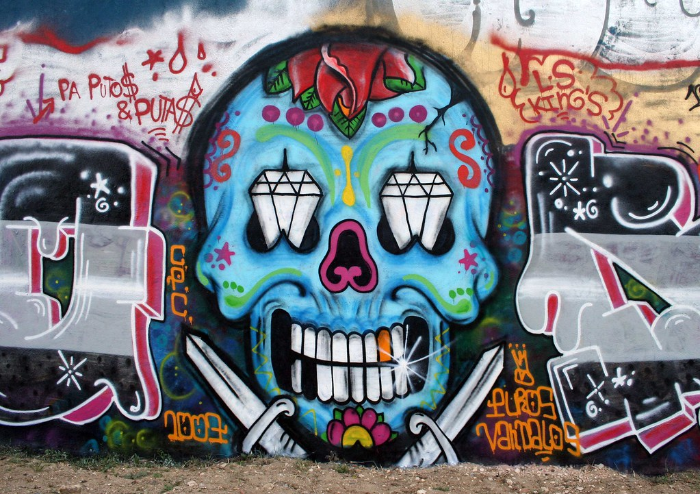 Brilliant Graffiti Skull Mexican Style in Amoreiras Hall of Fame, Lisbon