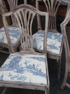 Marvelous Toile Chairs Real Toile Real French Blue Real Aged Wood Machost Co Dining Chair Design Ideas Machostcouk