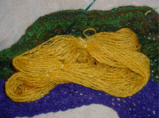 Yellow Handspun Shetland/mohair Yarn