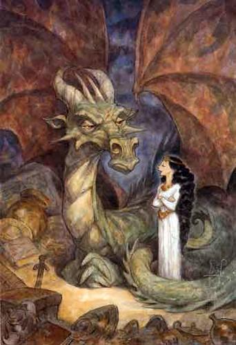 Portada del libro Dealing with Dragons, Peter de Sève (2002)
