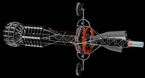 Nave con motor de materia antimateria