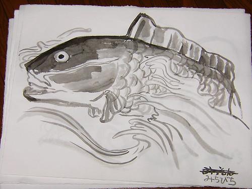 自筆鯉の水墨画
