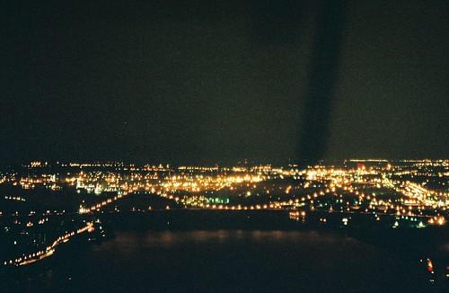 The Ambassador Bridge at night