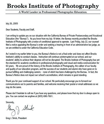 Brooks Letter